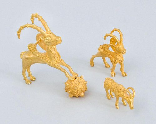 TWO 22K GOLD ACHAEMENID STYLE WINGED STAG PENDANTS, AFTER THE ANTIQUE