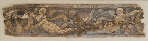 COPTIC CARVED WOOD PANEL WITH HONORIFIC FLYING FIGURES