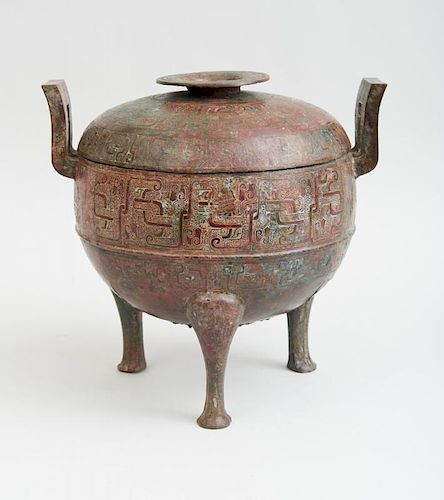 CHINESE BRONZE DING AND COVER