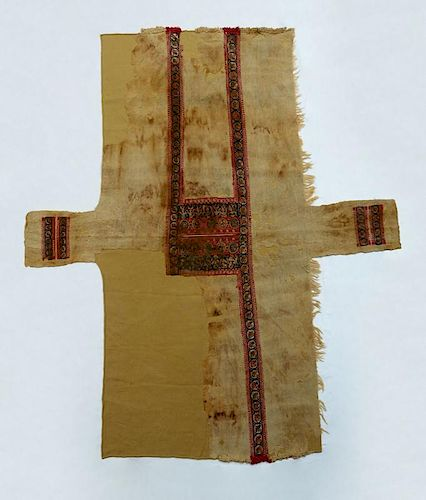 RARE COPTIC TEXTILE TUNIC WITH BACCHIC DANCERS, CROSSES AND BIRDS