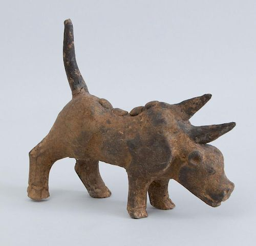 CHINESE GREY POTTERY FIGURE OF A BICORN BEAST, POSSIBLY WESTERN JIN DYNASTY