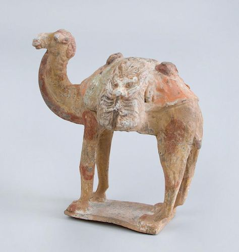 EARLY CHINESE POLYCHROME POTTERY FIGURE OF A PACK CAMEL