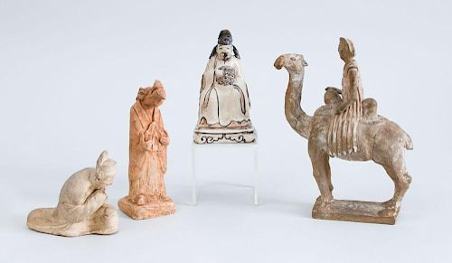 GROUP OF THREE CHINESE TANG TYPE POTTERY FIGURES AND A GLAZED POTTERY FIGURE OF A NOBLEMAN