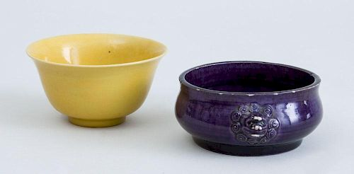 CHINESE ARCHAISTIC AUBERGINE-GLAZED PORCELAIN CENSER AND A CHINESE PORCELAIN YELLOW-GLAZED BOWL