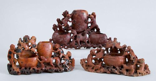 THREE CHINESE CARVED SOFTSTONE VASES