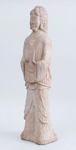 NORTHERN CHINESE HAND-CARVED LIMESTONE PRINCESS