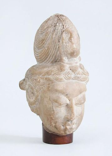 CHINESE CARVED MARBLE HEAD OF BUDDHA