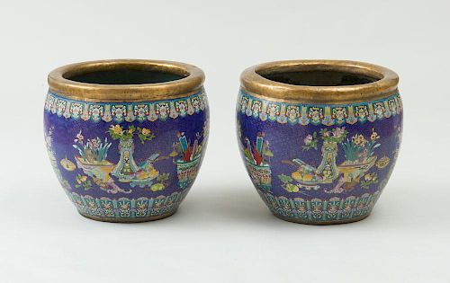 PAIR OF CHINESE CLOISONNÉ FISH BOWLS