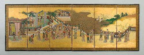 JAPANESE PAINTED PAPER SIX-FOLD TABLE SCREEN
