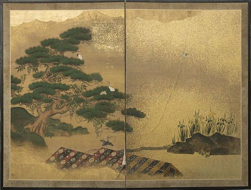 JAPANESE PAINTED-PAPER TWO-FOLD SCREEN