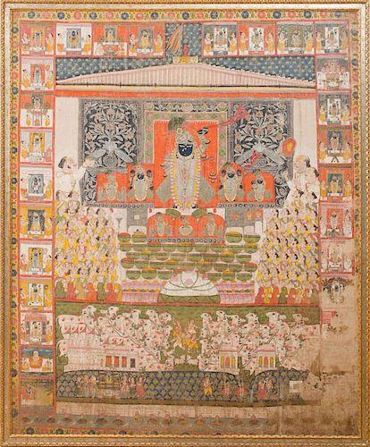 INDIAN SCHOOL: PICHHAWAI OF DAUJI II PERFORMING AARTI ON THE DAY OF SAPTA-SWARUPOTSAVA