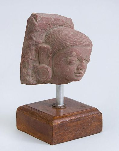 CENTRAL INDIAN CARVED RED SANDSTONE HEAD OF A YOUTH, CENTRAL INDIA, MATHURA