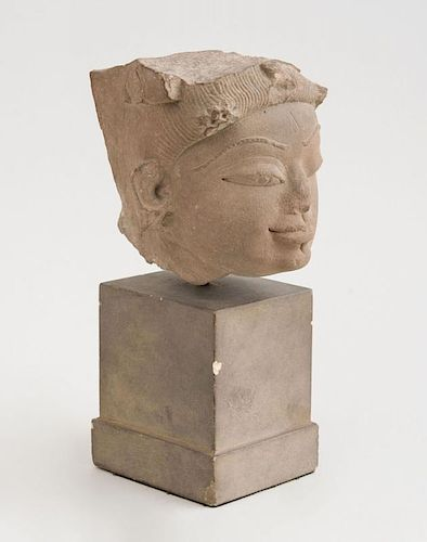INDIAN CARVED GREY SCHIST HEAD OF A FEMALE