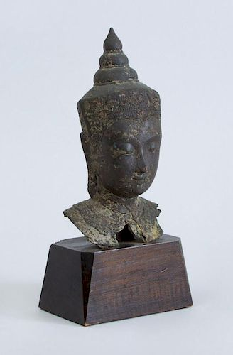 SOUTHEAST ASIAN METAL HEAD OF A BUDDHA