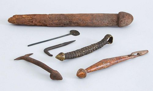 GROUP OF SIX TRIBAL CARVED WOOD AND METAL TOOLS AND IMPLEMENTS