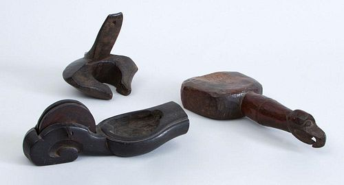 GROUP OF THREE CARVED WOOD OBJECTS