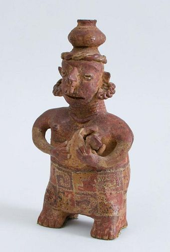 NAYARIT PROTOCLASSICAL POLYCHROME POTTERY GROUP OF A MOTHER AND CHILD