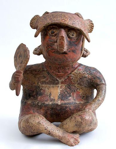 NAYARIT PROTOCLASSICAL PAINTED POTTERY FIGURE OF A SEATED MALE
