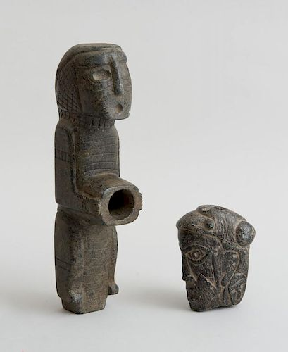 TWO SOUTH AMERICAN FIGURAL CARVED STONE PIPES