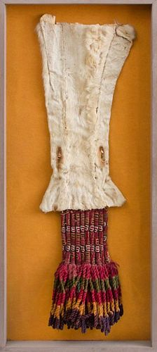 LATE HORIZON PERUVIAN ANIMAL HIDE AND TEXTILE FRAGMENT