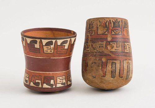 TWO NAZCA POLYCHROME POTTERY BEAKERS