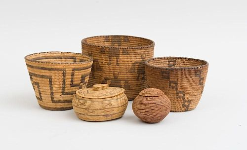 GROUP OF THREE NATIVE AMERICAN COILED SMALL BASKETS AND TWO TWINED JARS AND COVERS