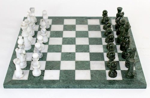 Green and white marble chess set