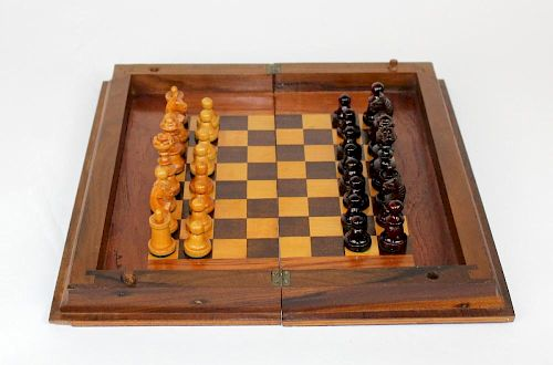 Wooden book form chess set