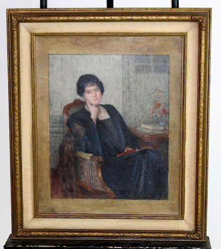 Oil on canvas woman seated with book
