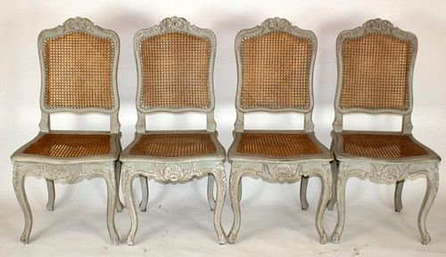 Set of 4 French Louis XV cane chairs
