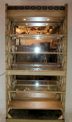 EJ Victor lattice side etagere book shelf