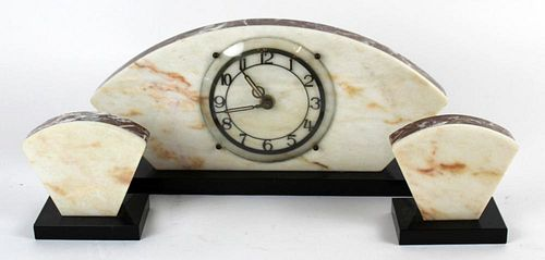 French Art Deco 3pc marble clock set