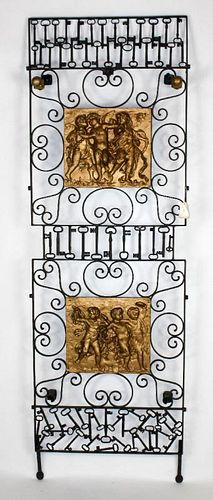 Antique iron cherub panel