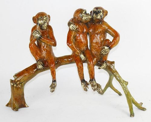 Polychrome bronze sculptural group monkeys