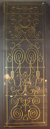 French etched glass music room panel with harp motif