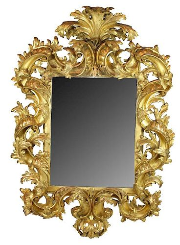 Antique Italian Florentine gold leaf mirror