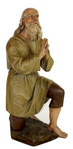 Hand painted and carved sculpture of Saint Bernard