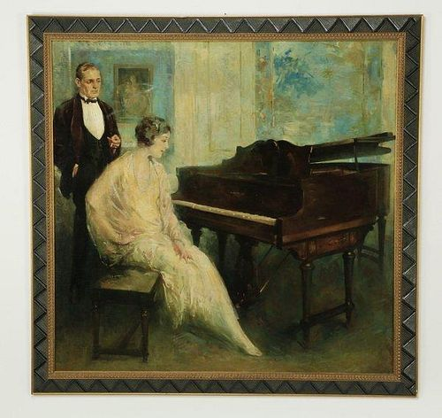 "Oil on artist board - American School, 20th century. Depicting 1930's era couple seated at piano. 41""h x 42 1/4""w"