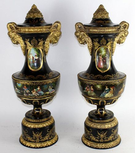 Pair of Venetian painted urns with ram's heads