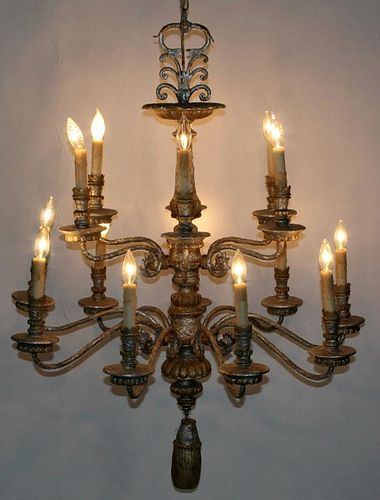 2-tier acanthus scroll silver chandelier