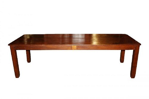 French 19th century hand hewn plank top table