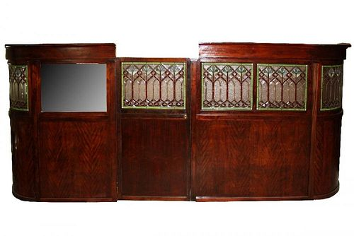 Brunswick mahogany stained & leaded glass room divider