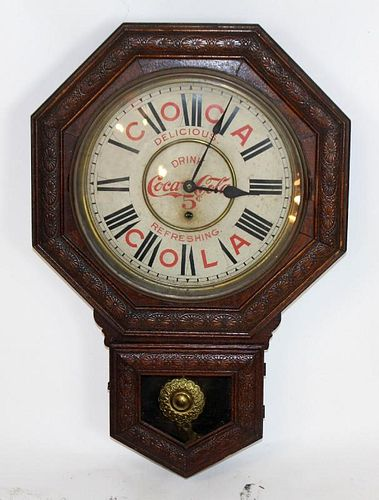 Octagonal drop Coca-Cola regulator wall clock