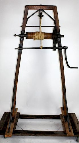 Antique French barrel hoist from a pub