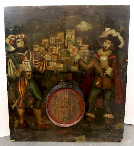 Hand painted panel with wine barrel end from a pub