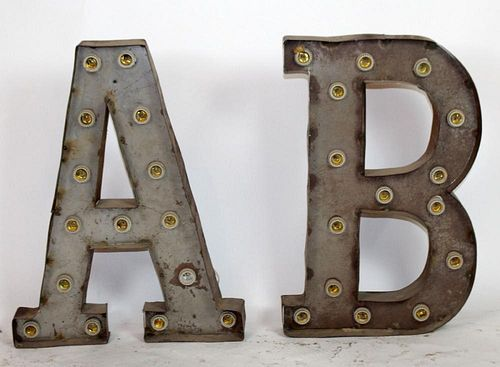 2 vintage marquee letters