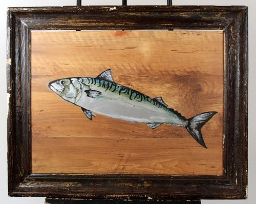 Oil painting on wooden panel of a Mackerel