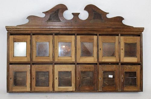 French Provincial mailbox cabinet in walnut