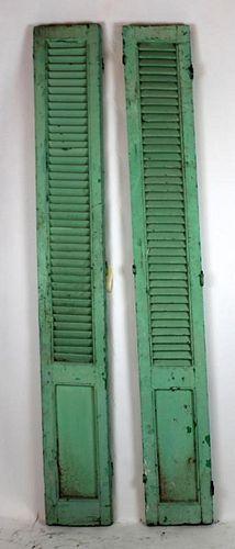 Pair of painted wood shutters