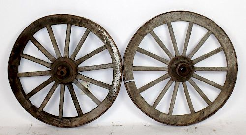 Lot of 2 antique wood & iron wagon wheels